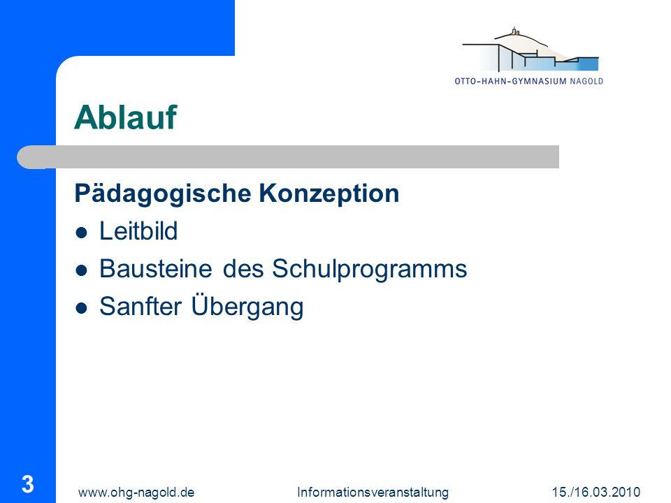 www.ohg-nagold.de Informationsveranstaltung 15./16.03.2010 3 Ablauf Pädagogische Konzeption Leitbild Bausteine des Schulprogramms Sanfter Übergang