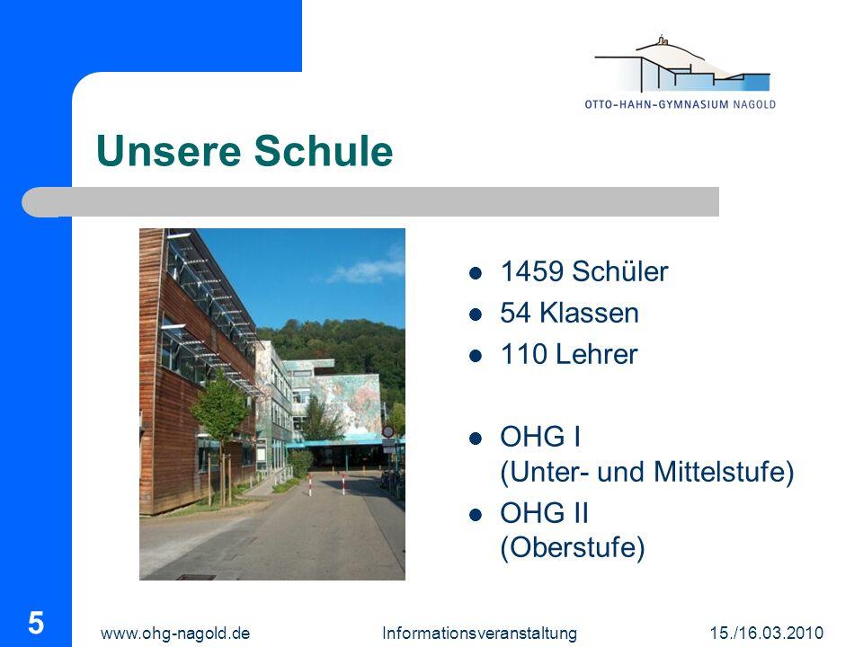 www.ohg-nagold.de Informationsveranstaltung 15./16.03.2010 5 Unsere Schule 1459 Schüler 54 Klassen 110 Lehrer OHG I (Unter- und Mittelstufe) OHG II (O