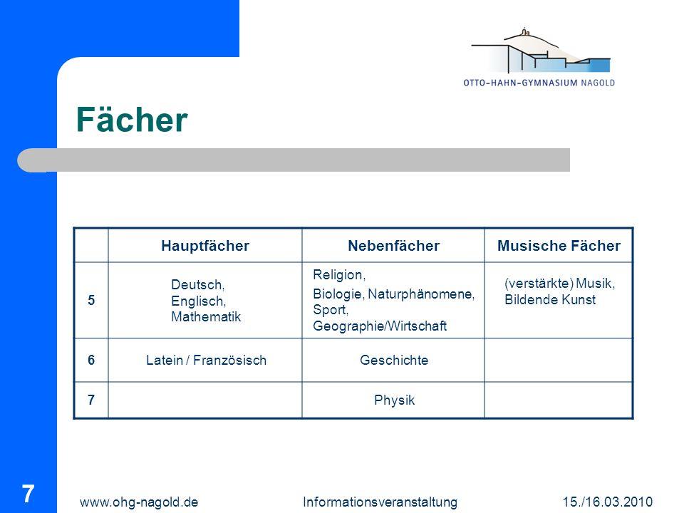 www.ohg-nagold.de Informationsveranstaltung 15./16.03.2010 7 Fächer HauptfächerNebenfächerMusische Fächer 5 Deutsch, Englisch, Mathematik Religion, Bi