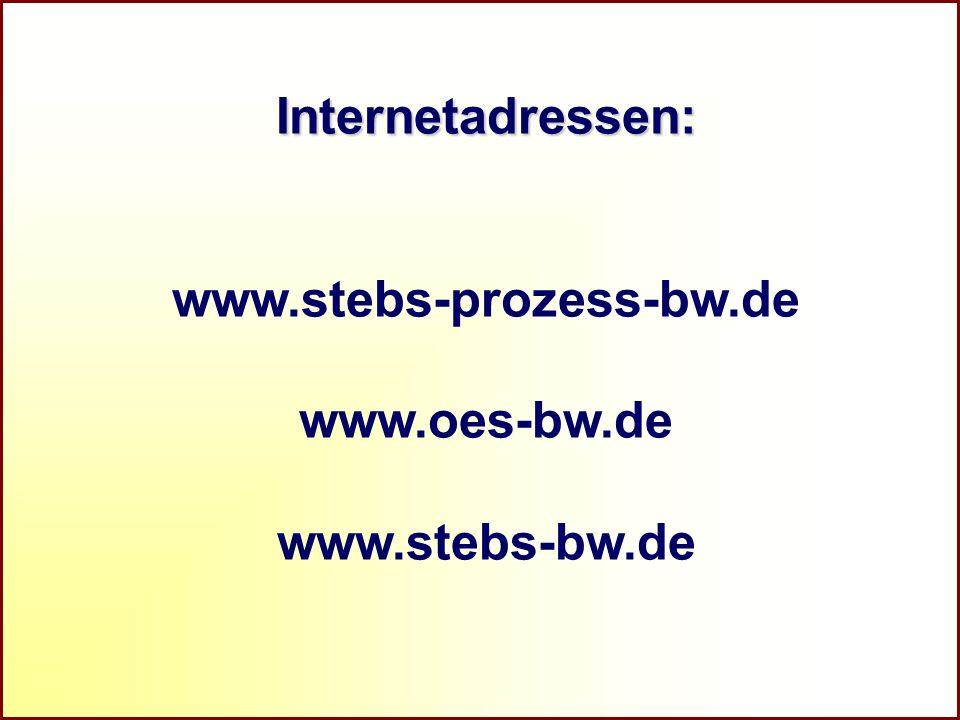 Referat Grundsatzfragen beruflicher Schulen und Qualitätssicherung R Internetadressen: www.stebs-prozess-bw.de www.oes-bw.de www.stebs-bw.de