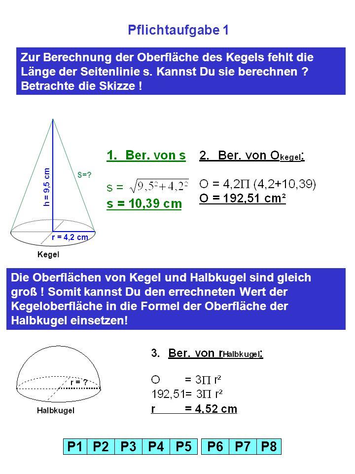 P1P2P3P4P5P6P7P8 Pflichtaufgabe 1 r = 4,2 cm h = 9,5 cm S=.