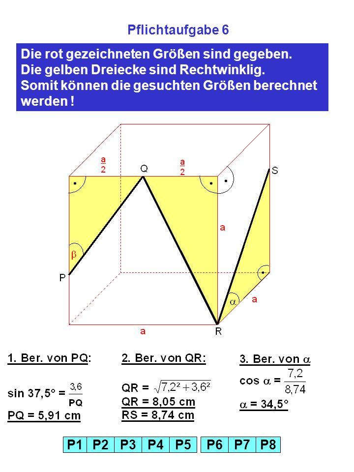 P1P2P3P4P5P6P7P8 Pflichtaufgabe 6 Die rot gezeichneten Größen sind gegeben.