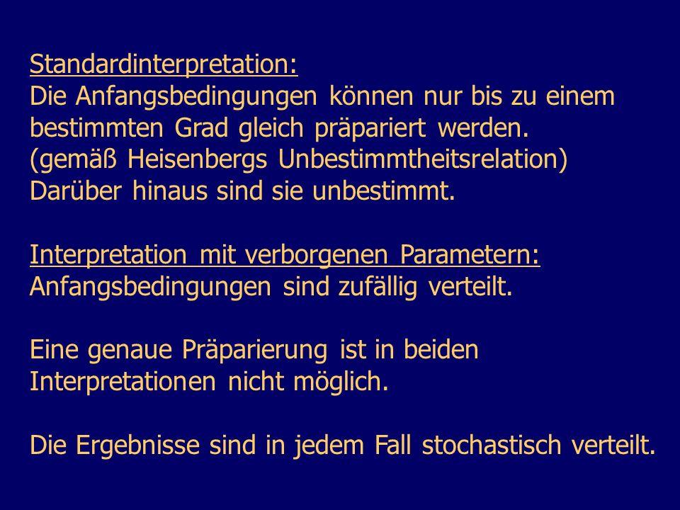 Standardinterpretation: Die Anfangsbedingungen können nur bis zu einem bestimmten Grad gleich präpariert werden. (gemäß Heisenbergs Unbestimmtheitsrel