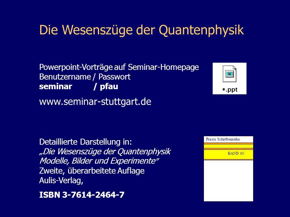 Die Wesenszüge der Quantenphysik Detaillierte Darstellung in: Die Wesenszüge der Quantenphysik Modelle, Bilder und Experimente Zweite, überarbeitete A