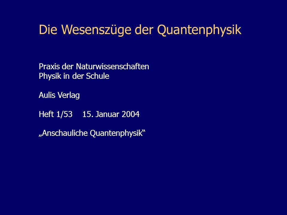 Die Wesenszüge der Quantenphysik Praxis der Naturwissenschaften Physik in der Schule Aulis Verlag Heft 1/53 15. Januar 2004 Anschauliche Quantenphysik