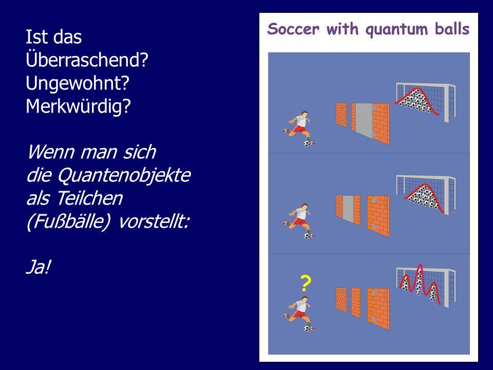 Ist das Überraschend? Ungewohnt? Merkwürdig? Wenn man sich die Quantenobjekte als Teilchen (Fußbälle) vorstellt: Ja!