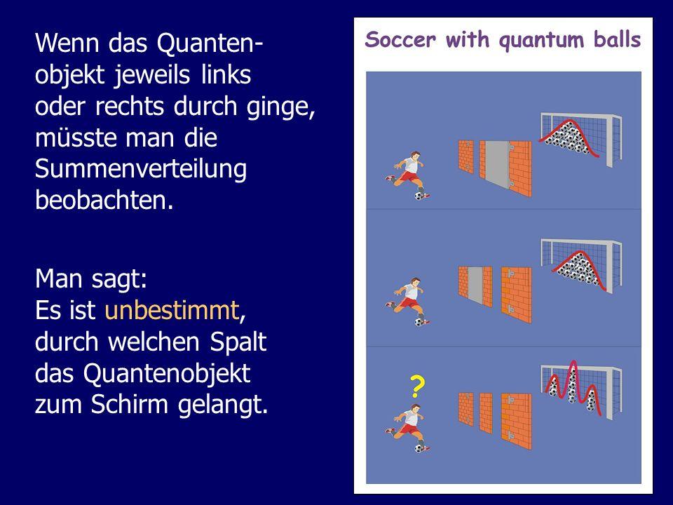 Wenn das Quanten- objekt jeweils links oder rechts durch ginge, müsste man die Summenverteilung beobachten. Man sagt: Es ist unbestimmt, durch welchen