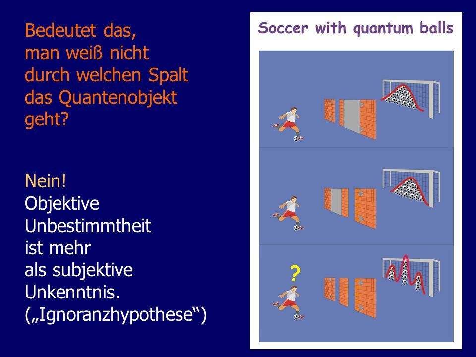 Bedeutet das, man weiß nicht durch welchen Spalt das Quantenobjekt geht? Nein! Objektive Unbestimmtheit ist mehr als subjektive Unkenntnis. (Ignoranzh