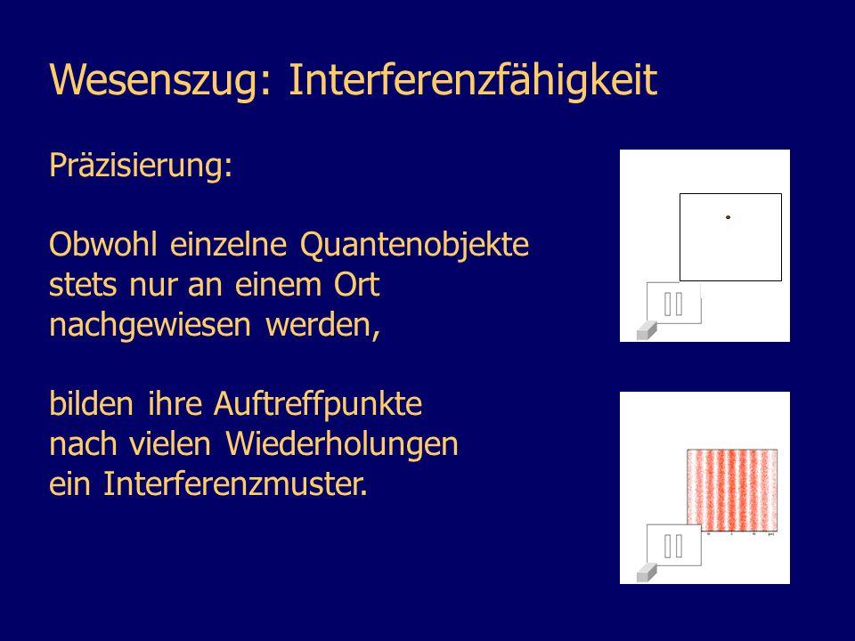 Wesenszug: Interferenzfähigkeit Präzisierung: Obwohl einzelne Quantenobjekte stets nur an einem Ort nachgewiesen werden, bilden ihre Auftreffpunkte na