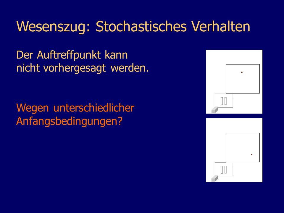 Wesenszug: Stochastisches Verhalten Der Auftreffpunkt kann nicht vorhergesagt werden. Wegen unterschiedlicher Anfangsbedingungen?