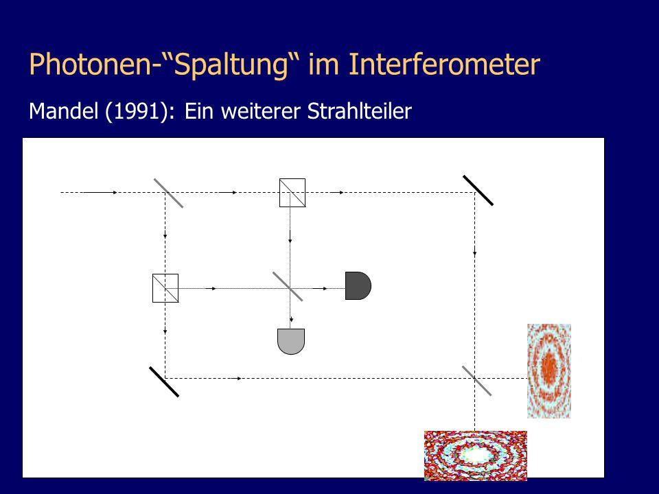 Mandel (1991): Ein weiterer Strahlteiler D1D1 D2D2 Photonen-Spaltung im Interferometer
