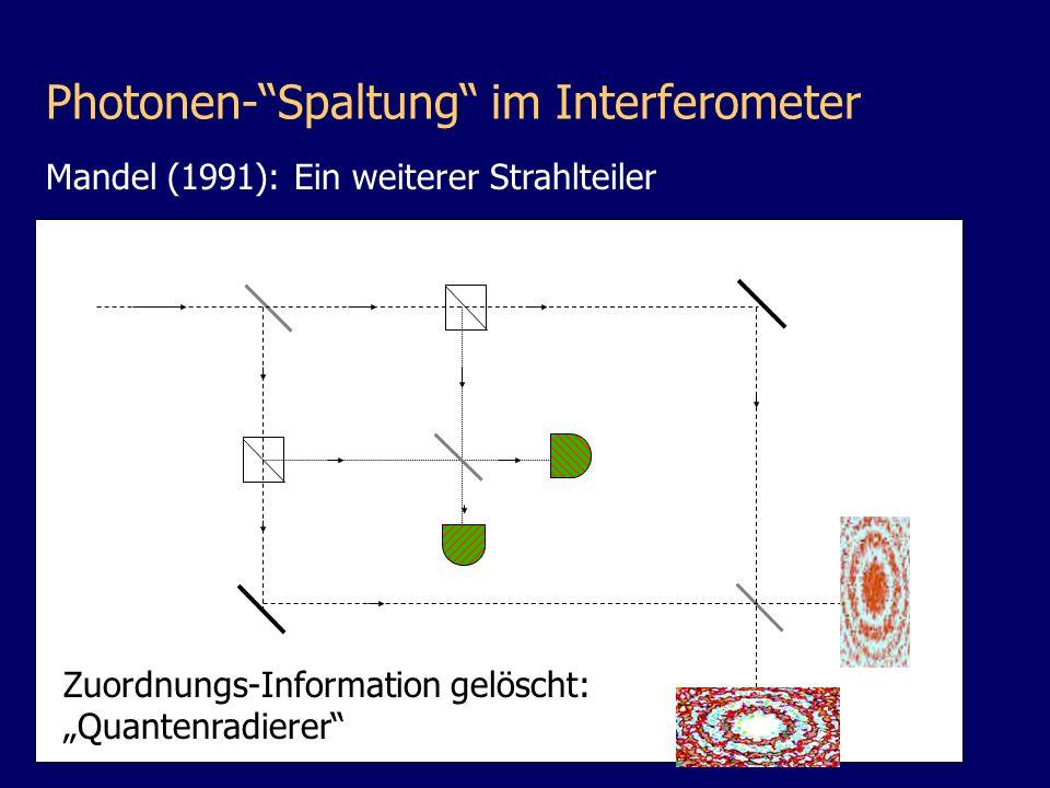 D1D1 D2D2 Zuordnungs-Information gelöscht: Quantenradierer Photonen-Spaltung im Interferometer Mandel (1991): Ein weiterer Strahlteiler