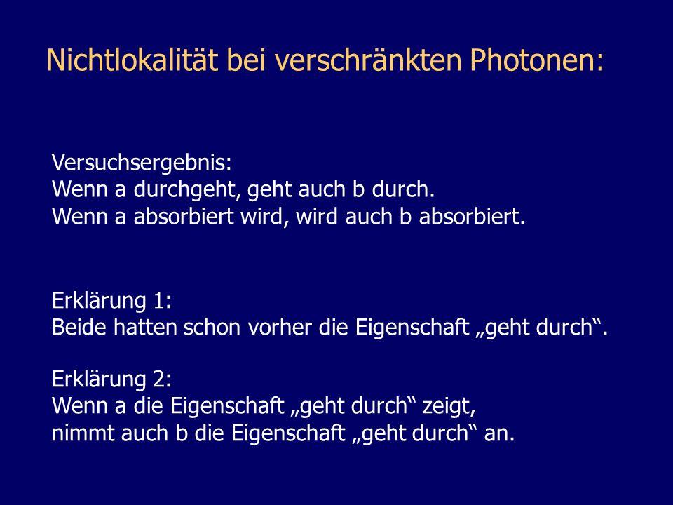 Nichtlokalität bei verschränkten Photonen: Versuchsergebnis: Wenn a durchgeht, geht auch b durch. Wenn a absorbiert wird, wird auch b absorbiert. Erkl