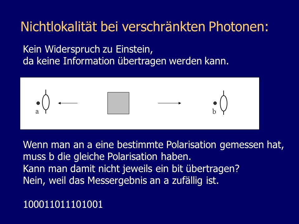 Nichtlokalität bei verschränkten Photonen: Kein Widerspruch zu Einstein, da keine Information übertragen werden kann. Wenn man an a eine bestimmte Pol