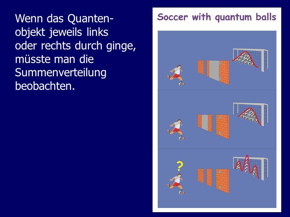 Wenn das Quanten- objekt jeweils links oder rechts durch ginge, müsste man die Summenverteilung beobachten.
