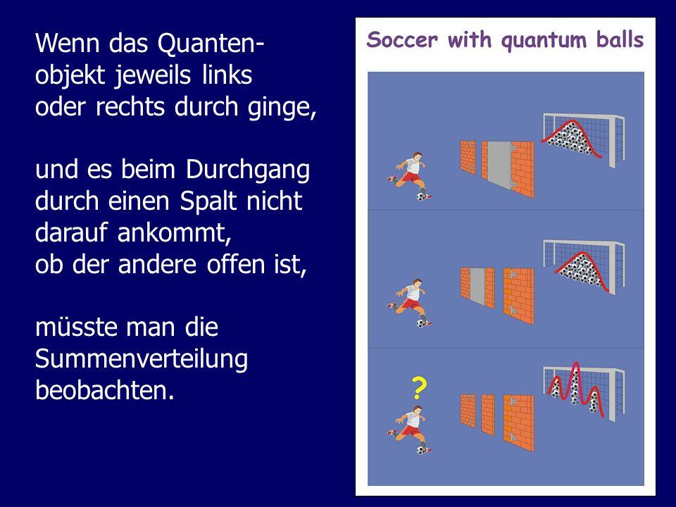 Wenn das Quanten- objekt jeweils links oder rechts durch ginge, und es beim Durchgang durch einen Spalt nicht darauf ankommt, ob der andere offen ist,