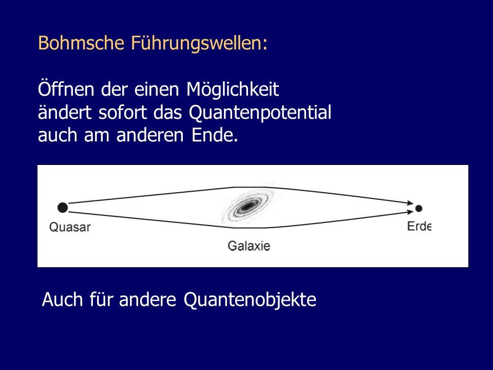 Bohmsche Führungswellen: Öffnen der einen Möglichkeit ändert sofort das Quantenpotential auch am anderen Ende. Auch für andere Quantenobjekte