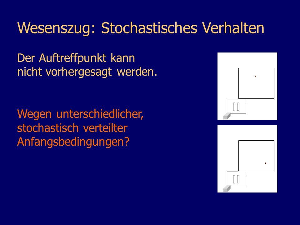 Wesenszug: Stochastisches Verhalten Der Auftreffpunkt kann nicht vorhergesagt werden. Wegen unterschiedlicher, stochastisch verteilter Anfangsbedingun