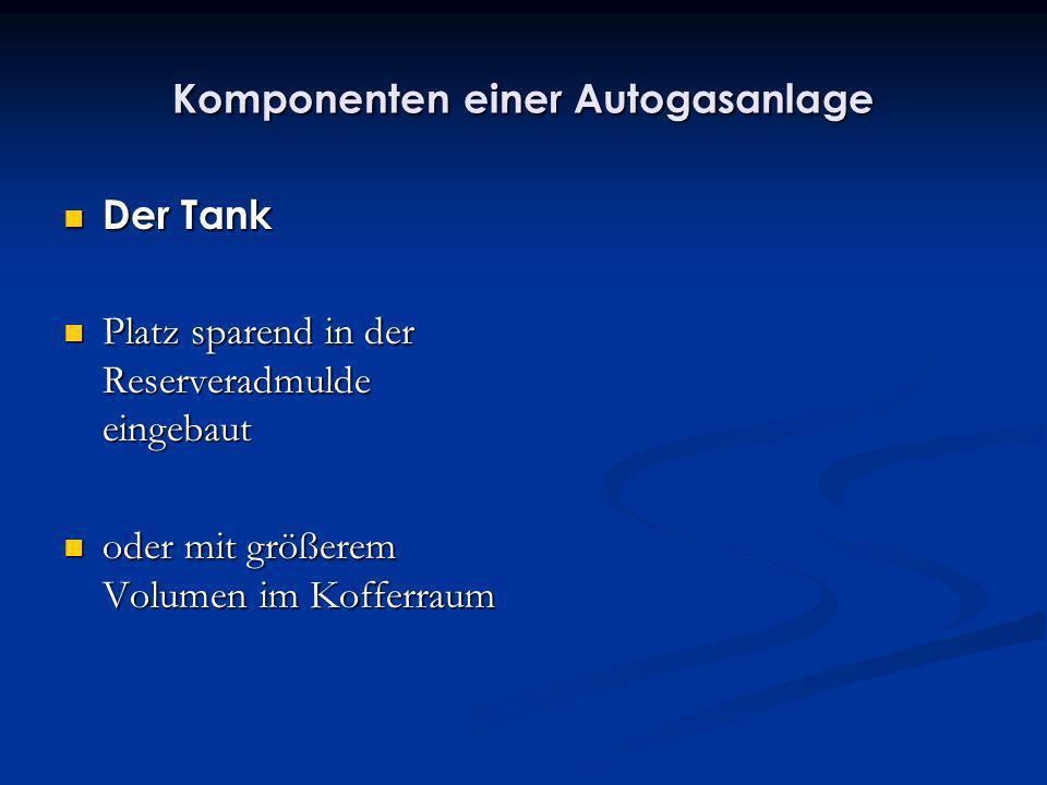 Komponenten einer Autogasanlage Der Tank Der Tank Platz sparend in der Reserveradmulde eingebaut Platz sparend in der Reserveradmulde eingebaut oder m