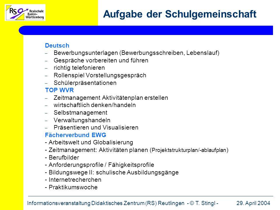 29. April 2004Informationsveranstaltung Didaktisches Zentrum (RS) Reutlingen - © T. Stingl - Deutsch – Bewerbungsunterlagen (Bewerbungsschreiben, Lebe