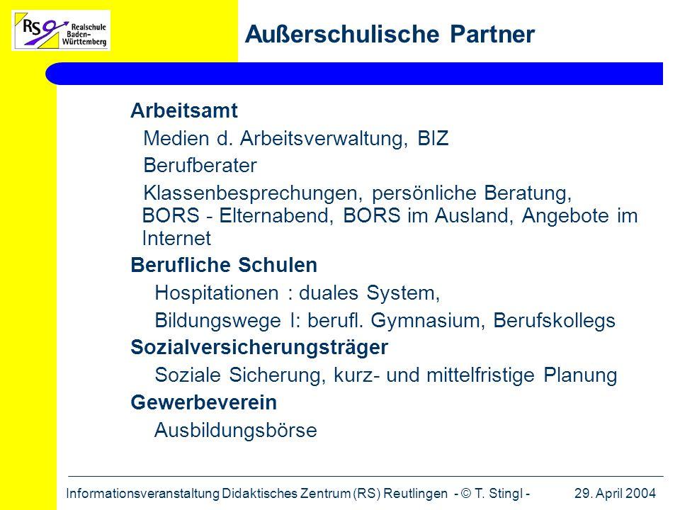 29. April 2004Informationsveranstaltung Didaktisches Zentrum (RS) Reutlingen - © T. Stingl - Arbeitsamt Medien d. Arbeitsverwaltung, BIZ Berufberater