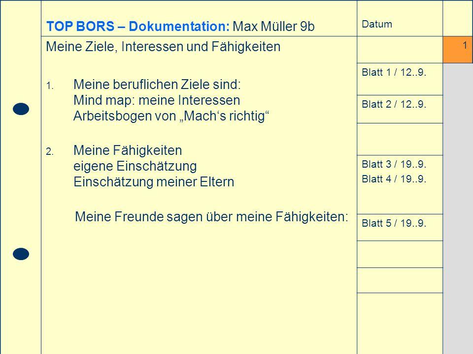 29. April 2004Informationsveranstaltung Didaktisches Zentrum (RS) Reutlingen - © T. Stingl - TOP BORS – Dokumentation: Max Müller 9b Datum Meine Ziele