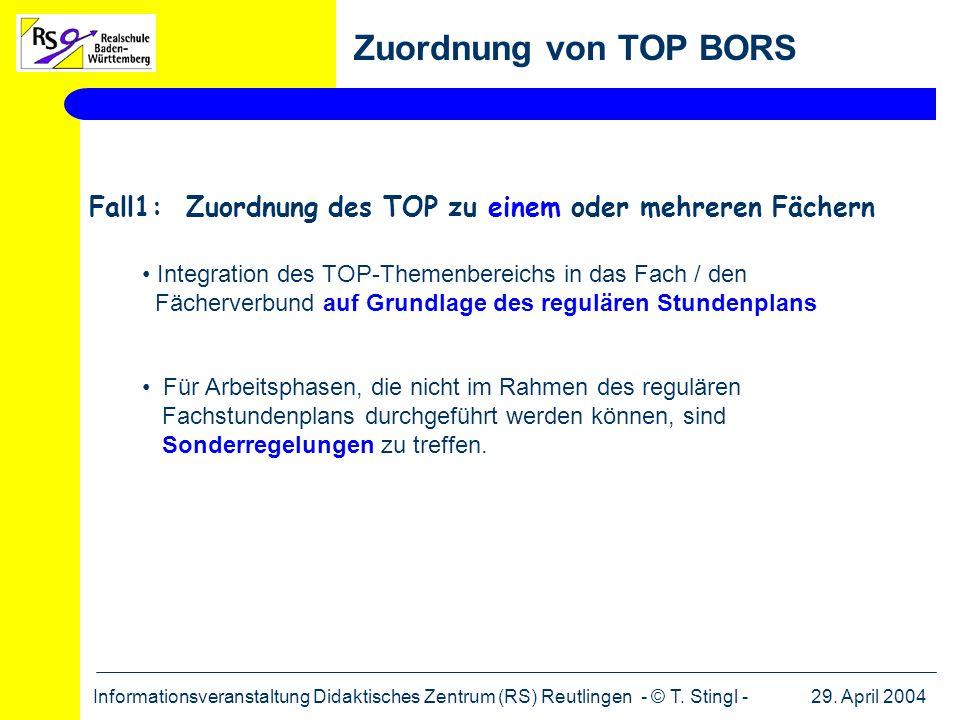 29. April 2004Informationsveranstaltung Didaktisches Zentrum (RS) Reutlingen - © T. Stingl - Zuordnung von TOP BORS Fall1: Zuordnung des TOP zu einem