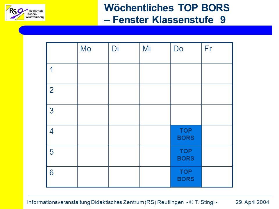 29. April 2004Informationsveranstaltung Didaktisches Zentrum (RS) Reutlingen - © T. Stingl - MoDiMiDoFr 1 2 3 4 TOP BORS 5 6 Wöchentliches TOP BORS –