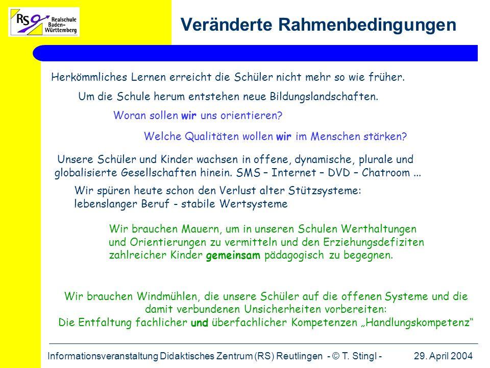 29. April 2004Informationsveranstaltung Didaktisches Zentrum (RS) Reutlingen - © T. Stingl - Veränderte Rahmenbedingungen Wir brauchen Windmühlen, die