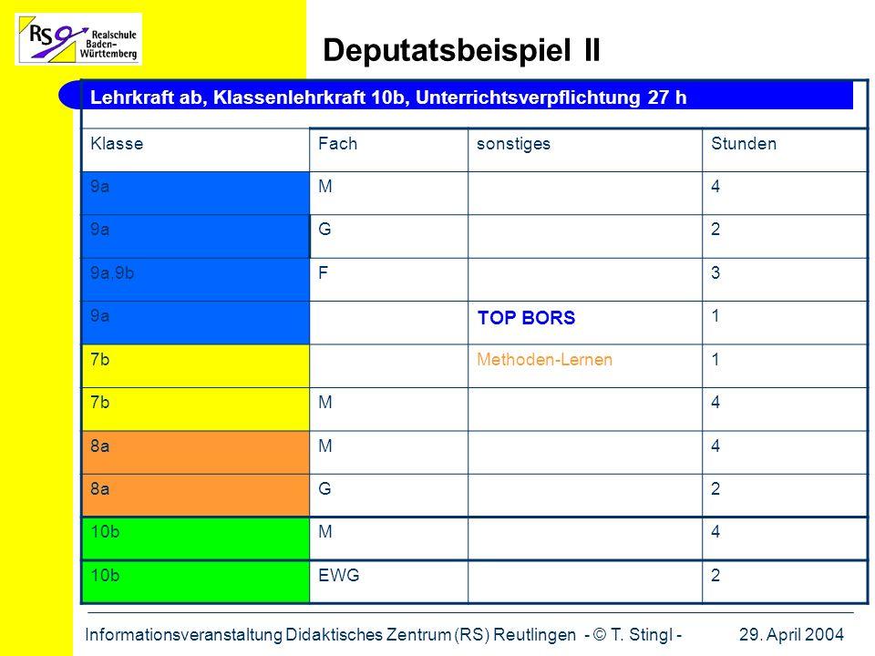 29. April 2004Informationsveranstaltung Didaktisches Zentrum (RS) Reutlingen - © T. Stingl - Lehrkraft ab, Klassenlehrkraft 10b, Unterrichtsverpflicht