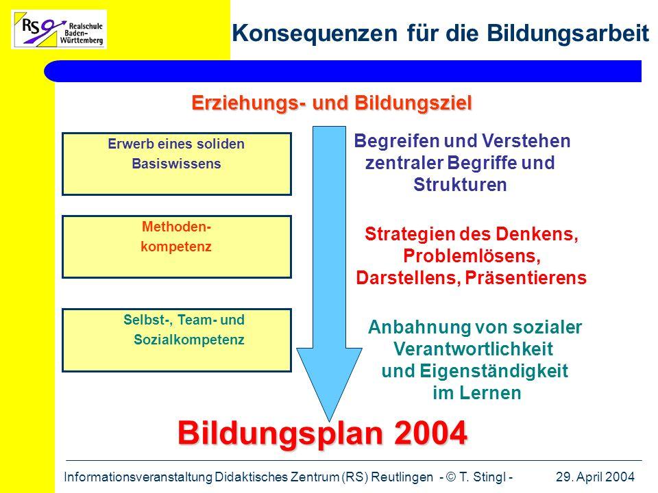 29. April 2004Informationsveranstaltung Didaktisches Zentrum (RS) Reutlingen - © T. Stingl - Erziehungs- und Bildungsziel Erwerb eines soliden Basiswi
