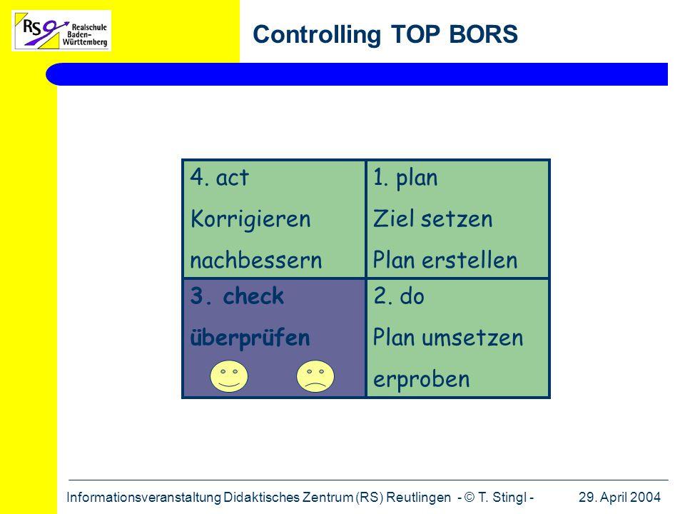 29. April 2004Informationsveranstaltung Didaktisches Zentrum (RS) Reutlingen - © T. Stingl - Controlling TOP BORS 1. plan Ziel setzen Plan erstellen 4