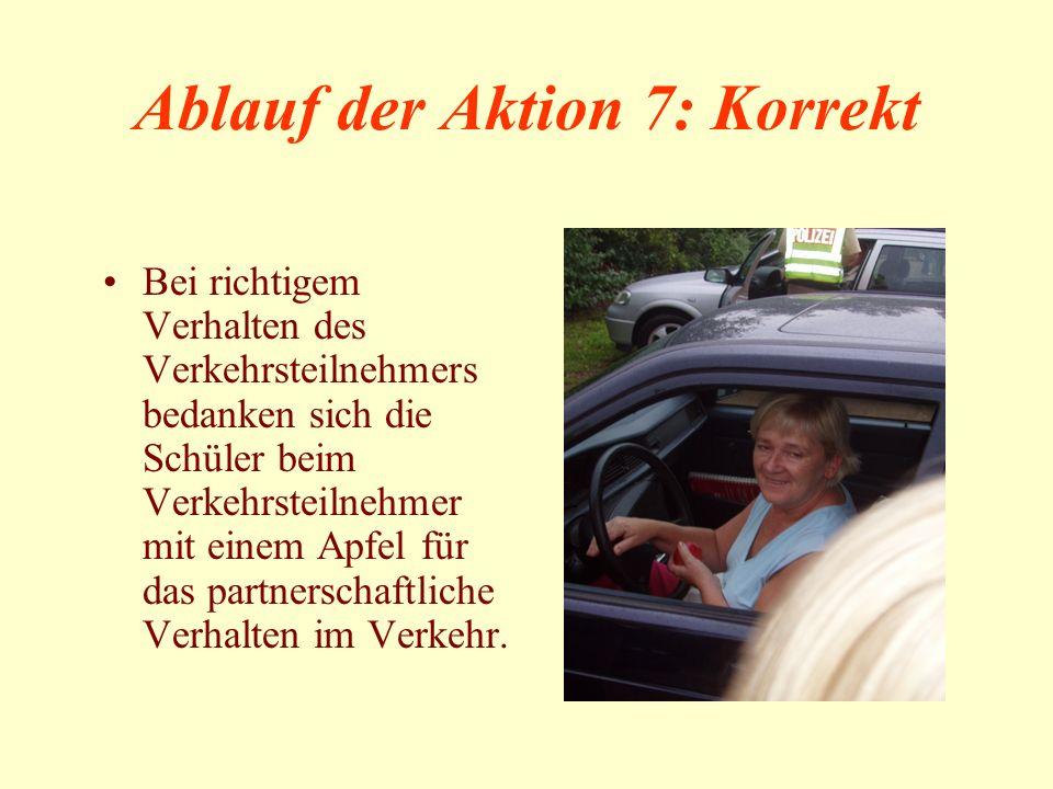 Ablauf der Aktion 7: Korrekt Bei richtigem Verhalten des Verkehrsteilnehmers bedanken sich die Schüler beim Verkehrsteilnehmer mit einem Apfel für das partnerschaftliche Verhalten im Verkehr.
