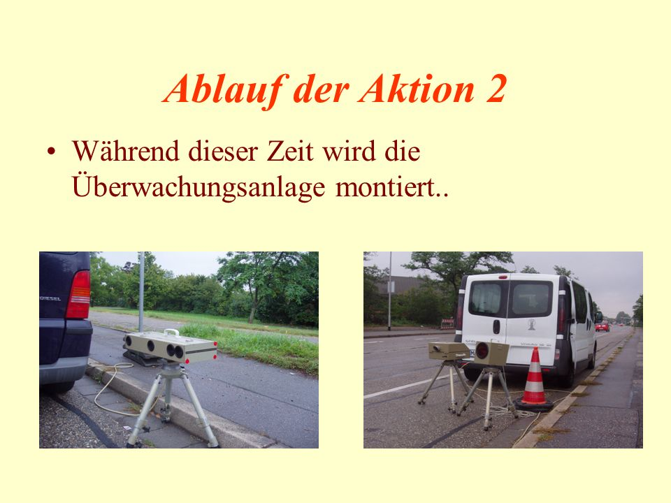 Ablauf der Aktion 2 Während dieser Zeit wird die Überwachungsanlage montiert..