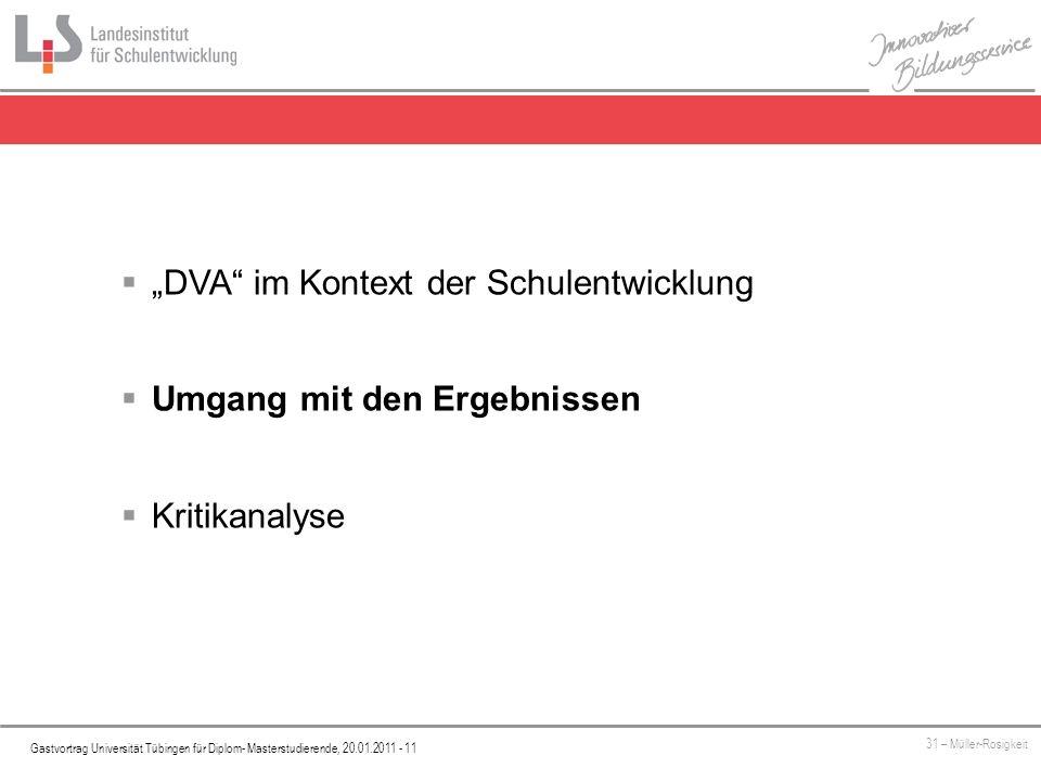 Platzhalter Gastvortrag Universität Tübingen für Diplom- Masterstudierende, 20.01.2011 - 11 31 – Müller-Rosigkeit DVA im Kontext der Schulentwicklung Umgang mit den Ergebnissen Kritikanalyse