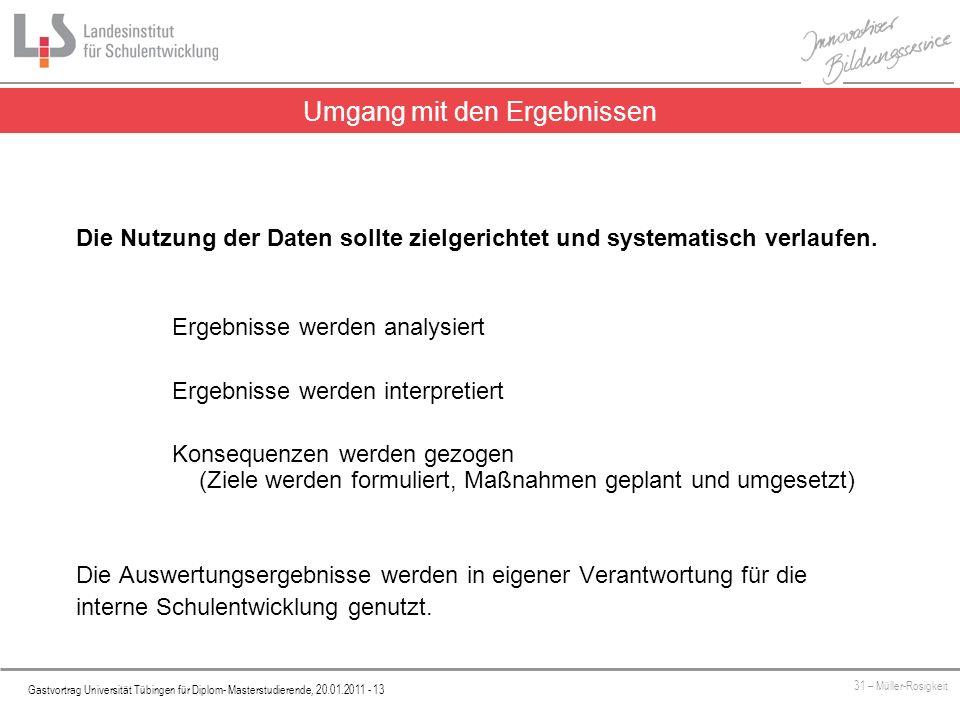 Platzhalter Gastvortrag Universität Tübingen für Diplom- Masterstudierende, 20.01.2011 - 13 31 – Müller-Rosigkeit Die Nutzung der Daten sollte zielgerichtet und systematisch verlaufen.