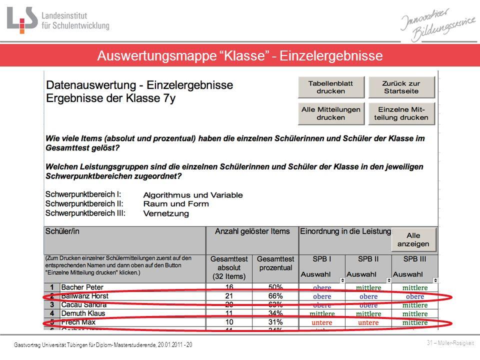 Platzhalter Gastvortrag Universität Tübingen für Diplom- Masterstudierende, 20.01.2011 - 20 31 – Müller-Rosigkeit Auswertungsmappe Klasse - Einzelerge