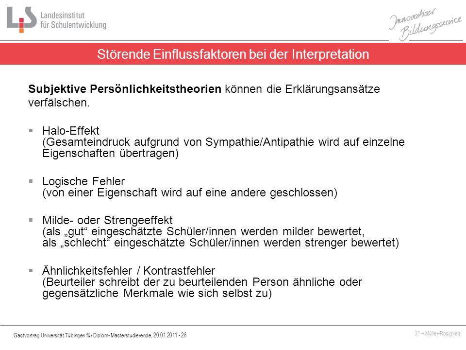 Platzhalter Gastvortrag Universität Tübingen für Diplom- Masterstudierende, 20.01.2011 - 26 31 – Müller-Rosigkeit Störende Einflussfaktoren bei der Interpretation Subjektive Persönlichkeitstheorien können die Erklärungsansätze verfälschen.
