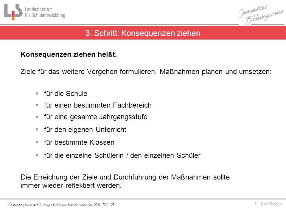 Platzhalter Gastvortrag Universität Tübingen für Diplom- Masterstudierende, 20.01.2011 - 27 31 – Müller-Rosigkeit 3. Schritt: Konsequenzen ziehen Kons