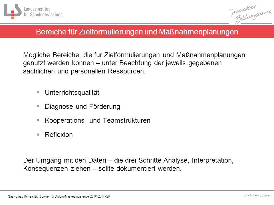 Platzhalter Gastvortrag Universität Tübingen für Diplom- Masterstudierende, 20.01.2011 - 28 31 – Müller-Rosigkeit Bereiche für Zielformulierungen und
