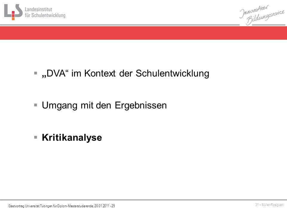 Platzhalter Gastvortrag Universität Tübingen für Diplom- Masterstudierende, 20.01.2011 - 29 31 – Müller-Rosigkeit DVA im Kontext der Schulentwicklung Umgang mit den Ergebnissen Kritikanalyse