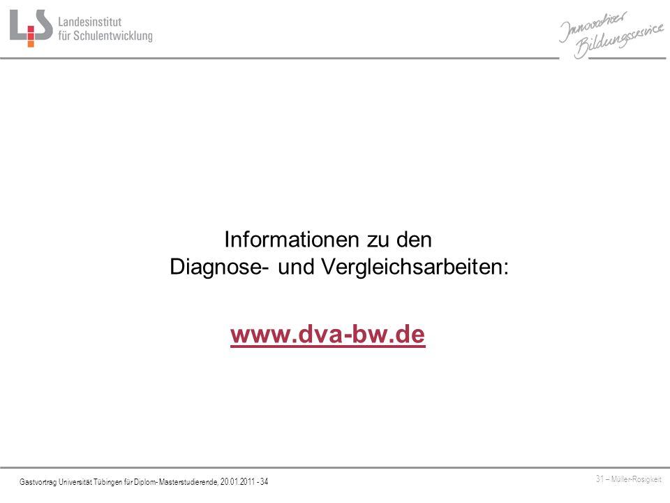 Platzhalter Gastvortrag Universität Tübingen für Diplom- Masterstudierende, 20.01.2011 - 34 31 – Müller-Rosigkeit Informationen zu den Diagnose- und Vergleichsarbeiten: www.dva-bw.de