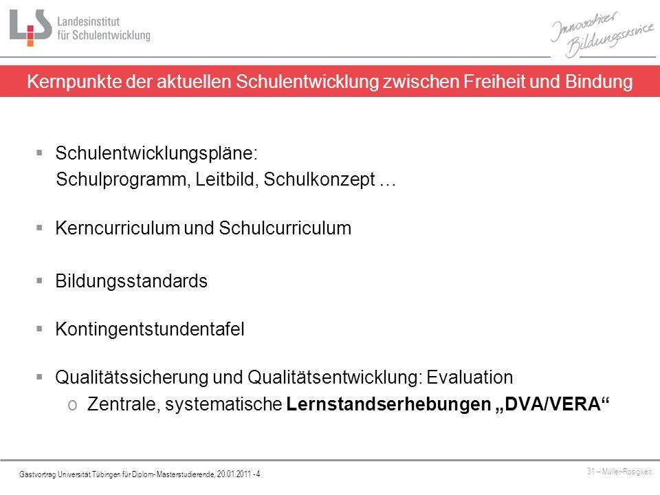 Platzhalter Gastvortrag Universität Tübingen für Diplom- Masterstudierende, 20.01.2011 - 5 31 – Müller-Rosigkeit Informelle, frei wählbare Verfahren (Beobachtungsbogen, Fragebogen, Interviews etc.) EVALUATION Selbstevaluation Fremdevaluation Standardisierte, verpflichtend einzusetzende Lernstandserhebungen VERA/DVA Gegenstand ist der Umgang mit den LernstandserhebungenVERA/DVA DVA - Vergleichsarbeiten als Instrument der Evaluation