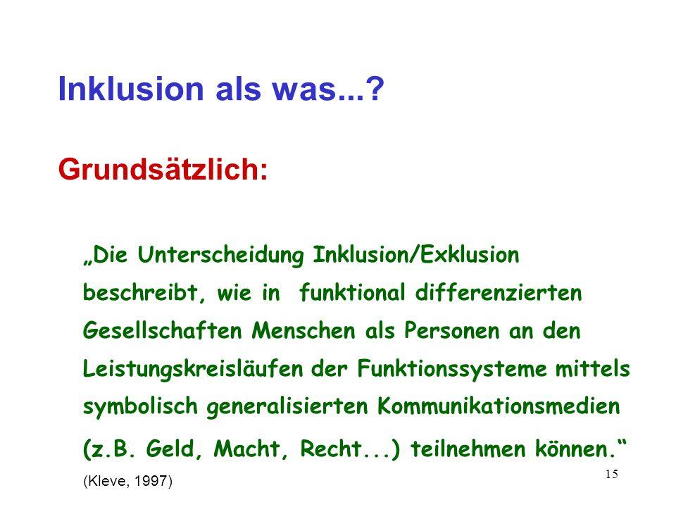 14 Inklusion als was...? Relevant: das Modell der funktionalen Differenzierung nach N. Luhmann -dieses beruht auf der Ungleichheit der Funktionssystem