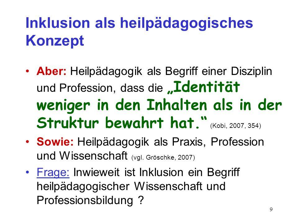 8 Inklusion als heilpädagogisches Konzept Heilpädagogik: sinnvoller Problembegriff, da Heilpädagogiken (vgl.: Kobi, 2007, 347/348) u.a. : biologisch-m