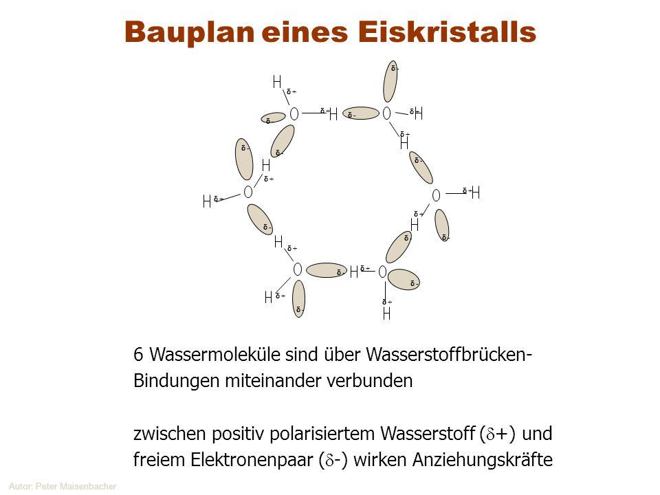 Autor: Peter Maisenbacher 6 Wassermoleküle sind über Wasserstoffbrücken- Bindungen miteinander verbunden zwischen positiv polarisiertem Wasserstoff (
