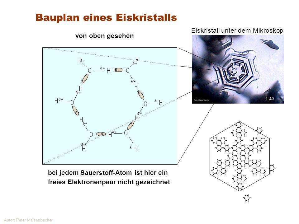 Autor: Peter Maisenbacher Bauplan eines Eiskristalls bei jedem Sauerstoff-Atom ist hier ein freies Elektronenpaar nicht gezeichnet von oben gesehen -