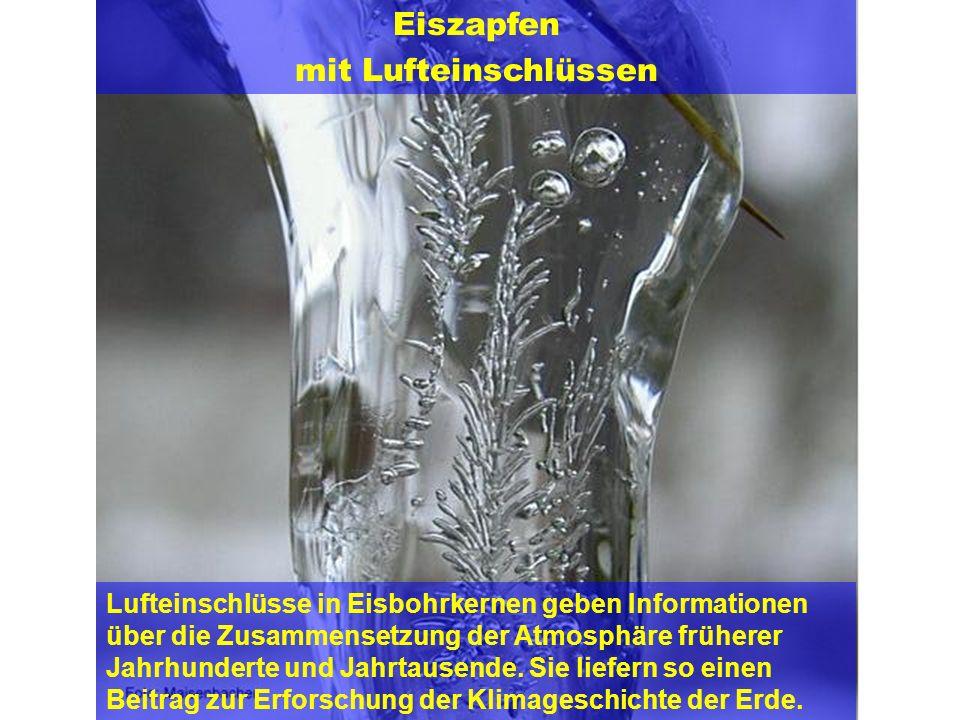 Autor: Peter Maisenbacher Eiszapfen mit Lufteinschlüssen Lufteinschlüsse in Eisbohrkernen geben Informationen über die Zusammensetzung der Atmosphäre
