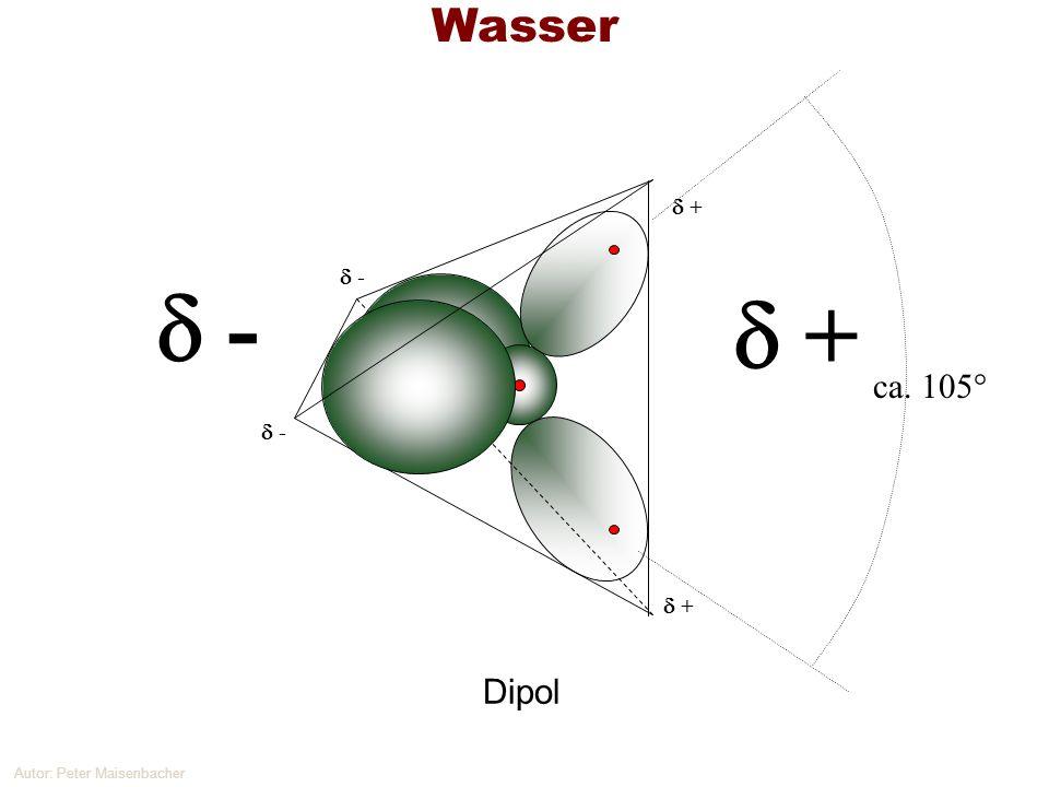 Autor: Peter Maisenbacher Wasser ca. 105° - + + - - + Dipol