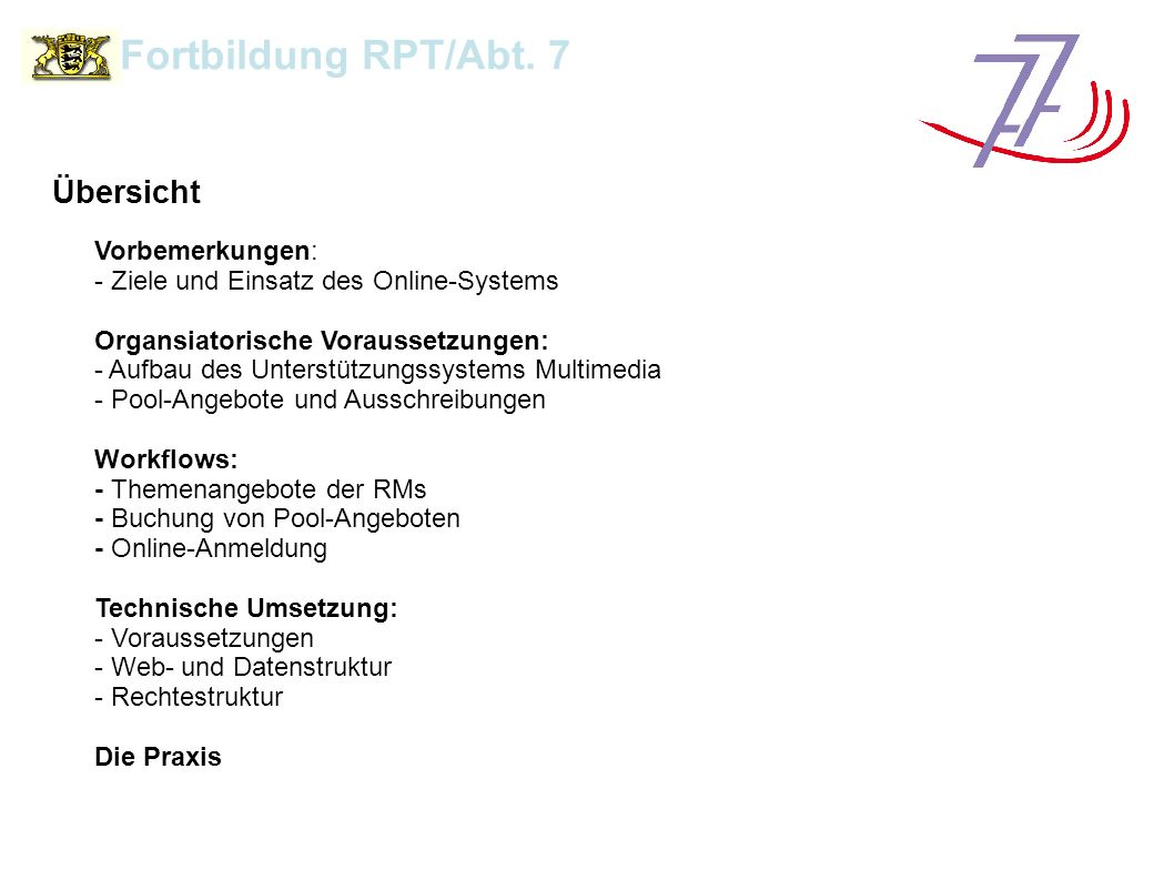 Unterstützungssystem Multimedia Fortbildung RPT/Abt.